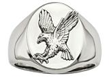 Chisel Stainless Steel Polished W/sterling Silver Rhodium-plated Eagle Ring style: SR602