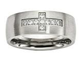 Chisel Stainless Steel Brushed CZ Cross Ring style: SR608