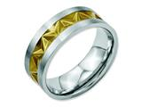 Chisel Stainless Steel Grooved Yellow Ip-plated Mens 8mm Brushed Weeding Band style: SR60