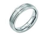 <b>Engravable</b> Chisel Stainless Steel Grooved Edge 6mm Satin And Polished Wedding Band style: SR84