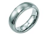<b>Engravable</b> Chisel Stainless Steel Ridged Edge 7mm Brushed And Polished Wedding Band style: SR85