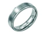 <b>Engravable</b> Chisel Stainless Steel Grooved Edge 6mm Brushed And Polished Wedding Band style: SR88