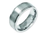 <b>Engravable</b> Chisel Stainless Steel Ridged Edge 8mm Brushed And Polished Wedding Band style: SR91