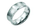 Chisel Stainless Steel Beveled Edge Concave 8mm Brushed Weeding Band style: SR92
