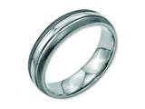 <b>Engravable</b> Chisel Stainless Steel Grooved 6mm Brushed And Polished Wedding Band style: SR93