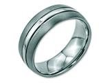 <b>Engravable</b> Chisel Stainless Steel Grooved 8mm Brushed And Polished Wedding Band style: SR94