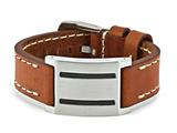 Chisel Stainless Steel Brown Leather W/carbon Fiber Buckle Bracelet style: SRB1089875
