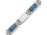 Chisel Stainless Steel Blue Carbon Fiber Inlay Polished Bracelet style: SRB122085