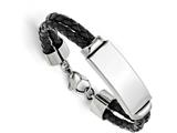 Chisel Stainless Steel Polished Leather Bracelet style: SRB1255825