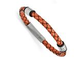 Chisel Stainless Steel Polished Orange Leather Bracelet style: SRB1259825