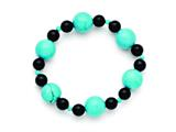 Chisel Black Agate and Dyed Howlite Turquoise Color Stretch Bracelet style: SRB1307