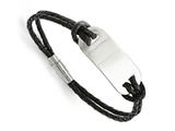 Chisel Stainless Steel Polished Id And Black Woven Leather Bracelet style: SRB1330825