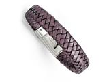 Chisel Stainless Steel Polished Metallic Purple Woven Leather Bracelet style: SRB133975