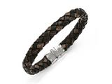 Chisel Stainless Steel Polished Brown Woven Leather Bracelet style: SRB1349875