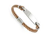 Chisel Stainless Steel Polished Id And Tan Leather Woven Bracelet style: SRB136085