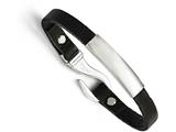 Chisel Stainless Steel Polished Id And Black Leather Bracelet style: SRB1362825