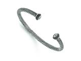 Chisel Stainless Steel Polished/antiqued CZ Twisted Bracelet style: SRB1393