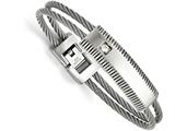 <b>Engravable</b> Chisel Stainless Steel Polished And Brushed CZ Wire Bracelet style: SRB13977