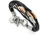 Chisel Stainless Steel Polished Pink Ip-plated Black Rubber Bracelet style: SRB14089
