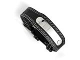 Chisel Stainless Steel And Genuine Black Leather Bracelet style: SRB14249