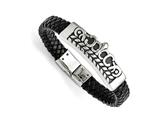 Chisel Stainless Steel Antiqued Fleur De Lis Black Leather Bracelet style: SRB1473825