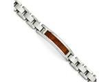 Chisel Stainless Steel Polished/brushed Red/orange Wood Inlay Enameled Bracelet style: SRB149385