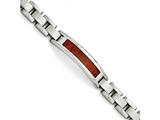 Chisel Stainless Steel Polished/brushed Red Wood Inlay Enameled Bracelet style: SRB149485