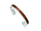 Chisel Stainless Steel Polished Brown Wood Inlay Enameled Bangle style: SRB1507