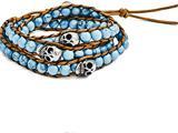 Chisel Stain. Steel Polished Cord Imitation Turquoise/skulls Wrap Bracelet style: SRB158523