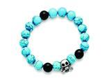 Chisel Stainless Steel Antiqued Skull Imitation Turquoise/black Onyx Bracelet style: SRB1588