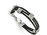 Chisel Stainless Steel Polished Leather Bracelet style: SRB159185