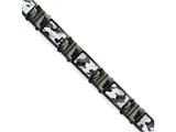 Chisel Stainless Steel Polished Black Ip-plated Camoflage Bracelet style: SRB159885