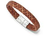 Chisel Stainless Steel Polished Woven Brown Leather Bracelet style: SRB1624825