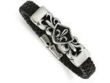Chisel Stainless Steel Antiqued and Polished Fleur De Lis Black Leather Bracelet style: SRB1625825