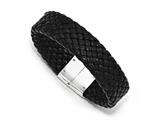 Chisel Stainless Steel Polished Woven Black Leather Bracelet style: SRB162885