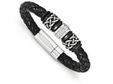 Chisel Stainless Steel Antiqued And Polished Braided Leather Bracelet style: SRB1630825