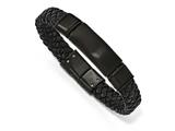 Chisel Stainless Steel Brushed Black Ip-plated Braided Leather Bracelet style: SRB1631825