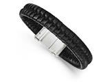 Chisel Stainless Steel Brushed Black Leather Bracelet style: SRB163685