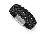Chisel Stainless Steel Polished Black Leather Bracelet style: SRB1637825