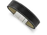 Chisel Stainless Steel Brushed Black Leather Bracelet style: SRB1638825