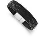 Chisel Stainless Steel Polished Black Leather Bracelet style: SRB16398