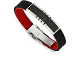 Chisel Stainless Steel Polished Carbon Fiber Id Black And Red Rubber Bracelet style: SRB164085