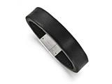 Chisel Stainless Steel Polished Black Leather Bracelet style: SRB166485
