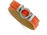 Chisel Stainless Steel Polished Orange Leather Wrap Bracelet style: SRB1670
