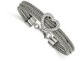 Chisel Stainless Steel Polished Heart W/ CZ Bracelet style: SRB167975