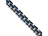 Chisel Stainless Steel Polished W/ Black and Blue Rubber Bracelet style: SRB1708825