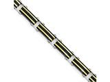 Chisel Stainless Steel Polished W/black and Gold Ip Link Bracelet style: SRB1710875