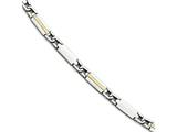 Chisel Stainless Steel Polished and Brushed W/14k Fancy Link Bracelet style: SRB1723875