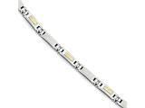 Chisel Stainless Steel W/14k Polished and Brushed Link Bracelet style: SRB1730825