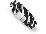 Chisel Stainless Steel Polished Leather Braided Bracelet style: SRB17458